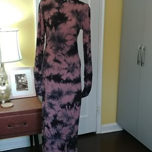 Maxi Tie Dye Ribbed Dress Medium NWOT